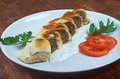 Turkish pide with beef meat and sauces Royalty Free Stock Image