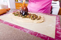Turkish Pide Filling Royalty Free Stock Photo