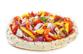 Turkish pizza bread filled with vegetables isolated over white Royalty Free Stock Photo