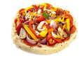 Turkish pizza bread filled with vegetables isolated over white Stock Image