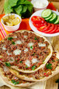 Turkish pizza Lahmajoun Lahmacun with ground beef Royalty Free Stock Photo