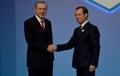 Turkish President Recep Tayyip Erdogan welcomes Russian Prime Minister Dmitry Medvedev