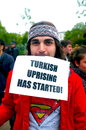 Turkish protester in hyde park a man london is supporting the protesters istanbul turkey following the demonstrations spiraled Stock Photos