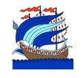 Turkish ship decorative drawing in old fashion style, roman galleon Royalty Free Stock Photo