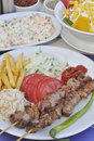 Turkish Shish Kebab Meal Royalty Free Stock Images
