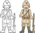 Turkish soldier, world war one, coloring book Royalty Free Stock Photo