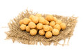 Turkish specific chickpeas on a piece of burlap sack isolated on white background Royalty Free Stock Image