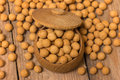 Turkish specific chickpeas in a wooden pot Royalty Free Stock Photography