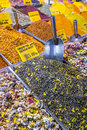Turkish spices typical on sale in the markets in istanbul Royalty Free Stock Photo