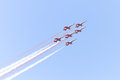 Turkish stars air force aerobatic demonstration team performs on may in istanbul turkey fly with eight Stock Photography