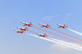 Turkish stars air force aerobatic demonstration team performs on may in istanbul turkey fly with eight Royalty Free Stock Photos