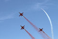 Turkish stars aircrafts performing their show on the air force st air force command anniversary may in eskisehir turkey Stock Images