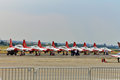Turkish stars nf tiger planes on the airport at bias bucharest international air show Stock Photography
