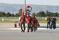 Turkish stars pilots after performing their show on the air force st air force command anniversary may in eskisehir turkey Stock Photos
