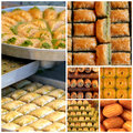 Turkish sweets baklava sekerpare and tulumba with nuts Stock Images