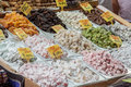 Turkish sweets a colorful set of in the spice bazaar istanbul turkey Royalty Free Stock Photos