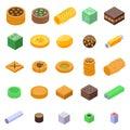 Turkish sweets icons set, isometric style