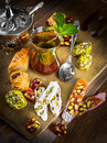 Turkish sweets tea in a glass with Royalty Free Stock Photo