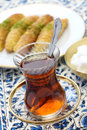 Turkish tea break close up Stock Image