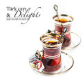 Turkish tea and delights isolated on white Royalty Free Stock Image