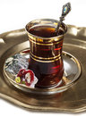 Turkish tea and delights on white background Royalty Free Stock Photos
