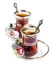 Turkish tea and delights on white background Stock Photos