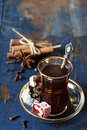 Turkish tea and delights on wooden background Royalty Free Stock Photography