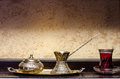 Turkish tea pot and cup Stock Photo