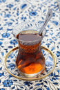 Turkish tea in small tulip shaped glass Stock Images