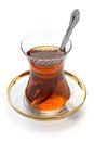 Turkish tea in small tulip shaped glass Royalty Free Stock Image
