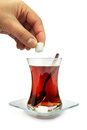 Turkish tea with traditional tea glass. Stock Photography