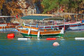 Turkish touristic boat vessels moored at the sea shore in marmaris turkey Royalty Free Stock Photography