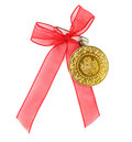 Turkish traditional coins with red ribbon quarter and half gold Royalty Free Stock Image