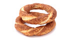 Turkish traditional sesame bagels simit Royalty Free Stock Images