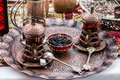 Turkish traditional tea table appointments, Turkey. Royalty Free Stock Photo