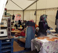 Turkish women cook in a tent stall during the anatolian festival clissold park london Stock Photography