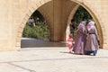 Turkish women in scarves with their children urfa turkey jun the park of birket ibrahim southeastern turkey Royalty Free Stock Image