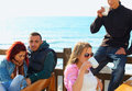 Turkish young friends by the sea Royalty Free Stock Photos