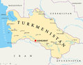 Turkmenistan Political Map Royalty Free Stock Photo