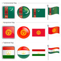 Turkmenistan and Tajikistan, Kyrgyzstan Flag Icon Stock Image