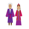 Turkmens national dress illustration of costume on white background Royalty Free Stock Photography