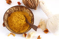 Turmeric powder for massage stamps and luk pra kob Stock Images