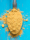 Turmeric powder on a silver spoon,