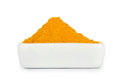 Turmeric root powder on white background Royalty Free Stock Photo
