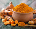 Turmeric roots in the basket on wooden table Royalty Free Stock Image