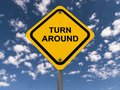 Turn around sign a traffic with the text Stock Image