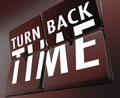 Turn back time retro clock flipping tiles reverse to past the words on on a illustrate going backward the a change Stock Photography