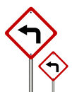 Turn left traffic sign isolated on white background Stock Image