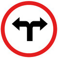 Turn left or turn rightn sign Royalty Free Stock Photo
