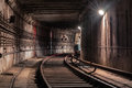 Turn in the subway tunnel Royalty Free Stock Photo